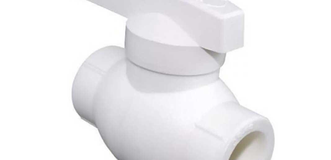 Кран шаровой полипропиленовый белый